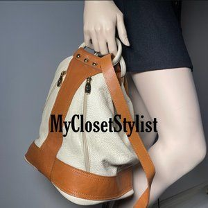 VALENTINA Italy Leather Sling Bucket Bag Backpack